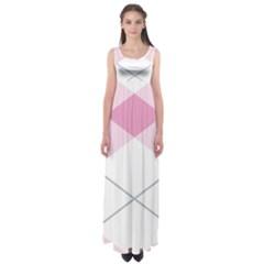 Tablecloth Stripes Diamonds Pink Empire Waist Maxi Dress