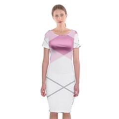 Tablecloth Stripes Diamonds Pink Classic Short Sleeve Midi Dress