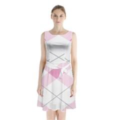 Tablecloth Stripes Diamonds Pink Sleeveless Chiffon Waist Tie Dress