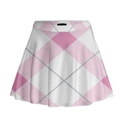 Tablecloth Stripes Diamonds Pink Mini Flare Skirt