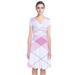 Tablecloth Stripes Diamonds Pink Short Sleeve Front Wrap Dress
