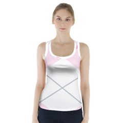 Tablecloth Stripes Diamonds Pink Racer Back Sports Top