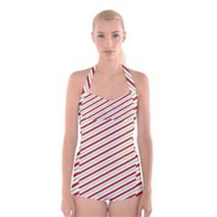 Stripes Striped Design Pattern Boyleg Halter Swimsuit
