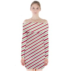 Stripes Striped Design Pattern Long Sleeve Off Shoulder Dress