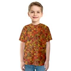 Gold Mosaic Background Pattern Kids  Sport Mesh Tee