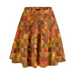 Gold Mosaic Background Pattern High Waist Skirt
