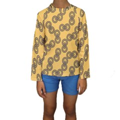 Abstract Shapes Links Design Kids  Long Sleeve Swimwear