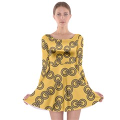 Abstract Shapes Links Design Long Sleeve Skater Dress