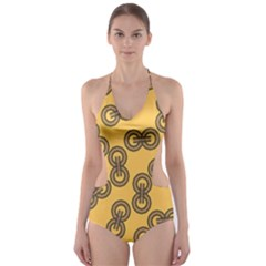 Abstract Shapes Links Design Cut-Out One Piece Swimsuit