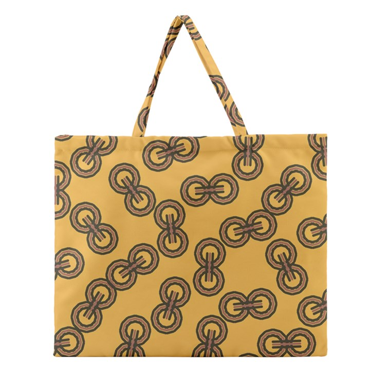 Abstract Shapes Links Design Zipper Large Tote Bag