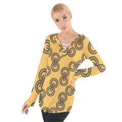 Abstract Shapes Links Design Women s Tie Up Tee