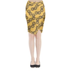 Abstract Shapes Links Design Midi Wrap Pencil Skirt