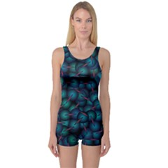 Background Abstract Textile Design One Piece Boyleg Swimsuit