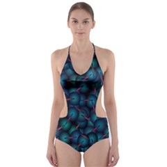 Background Abstract Textile Design Cut Out One Piece Swimsuit