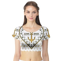 Anchor Heart Short Sleeve Crop Top (tight Fit)
