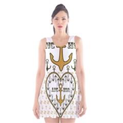 Anchor Heart Scoop Neck Skater Dress