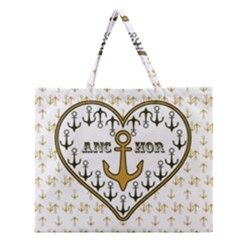 Anchor Heart Zipper Large Tote Bag