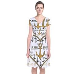Anchor Heart Short Sleeve Front Wrap Dress