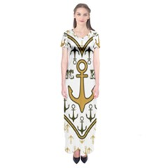 Anchor Heart Short Sleeve Maxi Dress