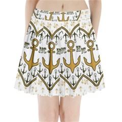 Anchor Heart Pleated Mini Skirt