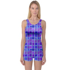 Background Mosaic Purple Blue One Piece Boyleg Swimsuit