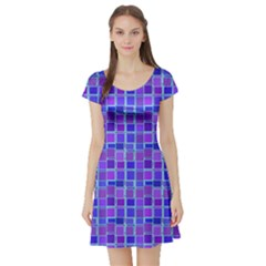 Background Mosaic Purple Blue Short Sleeve Skater Dress