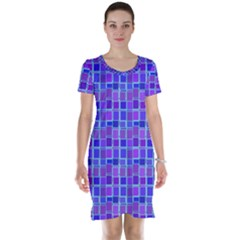 Background Mosaic Purple Blue Short Sleeve Nightdress