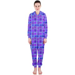 Background Mosaic Purple Blue Hooded Jumpsuit (Ladies)