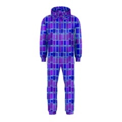 Background Mosaic Purple Blue Hooded Jumpsuit (Kids)