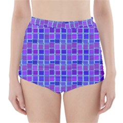 Background Mosaic Purple Blue High-Waisted Bikini Bottoms