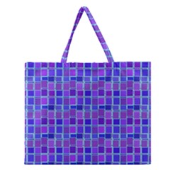 Background Mosaic Purple Blue Zipper Large Tote Bag