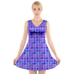 Background Mosaic Purple Blue V Neck Sleeveless Skater Dress