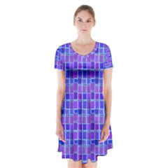 Background Mosaic Purple Blue Short Sleeve V-neck Flare Dress