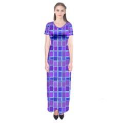 Background Mosaic Purple Blue Short Sleeve Maxi Dress