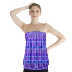 Background Mosaic Purple Blue Strapless Top