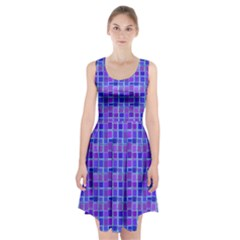 Background Mosaic Purple Blue Racerback Midi Dress