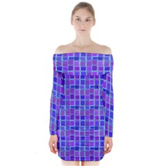 Background Mosaic Purple Blue Long Sleeve Off Shoulder Dress