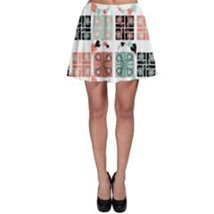 Mint Black Coral Heart Paisley Skater Skirt