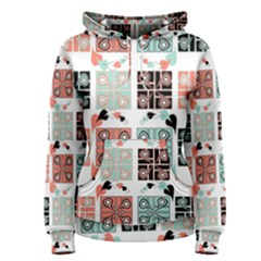 Mint Black Coral Heart Paisley Women s Pullover Hoodie