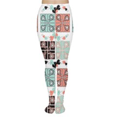 Mint Black Coral Heart Paisley Women s Tights