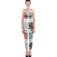 Mint Black Coral Heart Paisley Onepiece Catsuit