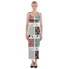 Mint Black Coral Heart Paisley Fitted Maxi Dress