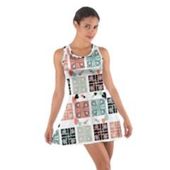 Mint Black Coral Heart Paisley Cotton Racerback Dress