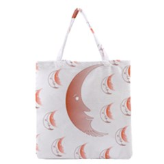 Moon Moonface Pattern Outlines Grocery Tote Bag