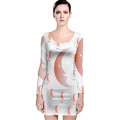 Moon Moonface Pattern Outlines Long Sleeve Bodycon Dress