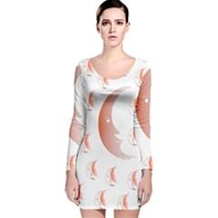 Moon Moonface Pattern Outlines Long Sleeve Velvet Bodycon Dress