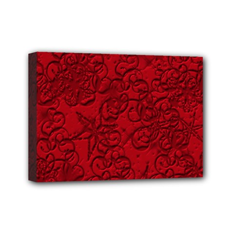 Christmas Background Red Star Mini Canvas 7  x 5