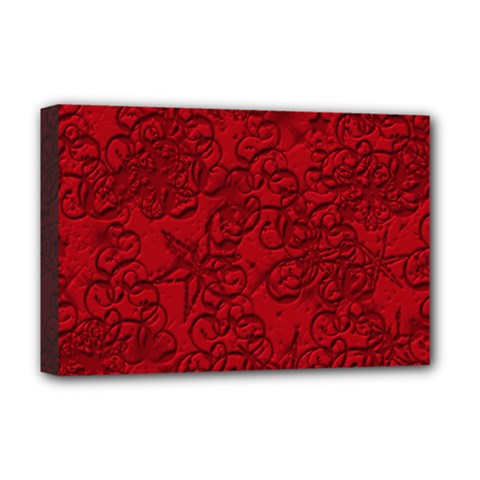 Christmas Background Red Star Deluxe Canvas 18  x 12