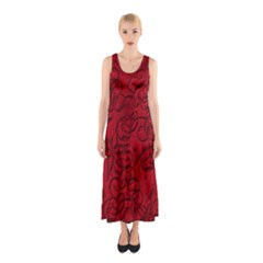 Christmas Background Red Star Sleeveless Maxi Dress