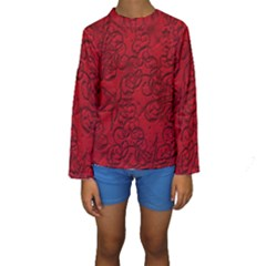 Christmas Background Red Star Kids  Long Sleeve Swimwear